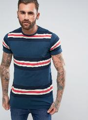 t shirt with panel stripes in blue