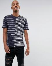 t shirt with striped splice in navy blue