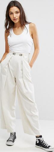 wide leg striped trouser