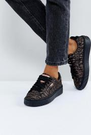 Metallic Print Basket Platform Trainers  Black