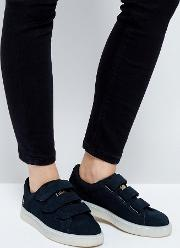 X Careaux Basket Strap Trainers  Black