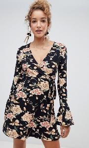 Floral Wrap Dress With Flare Sleeve