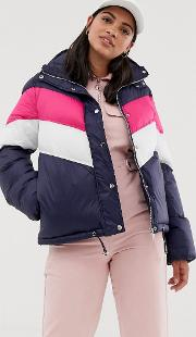 Padded Coat With Chevron Contrast Stripe