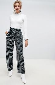 wide leg stripe trousers with sash belt