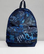 everyday poster backpack in navy logo print