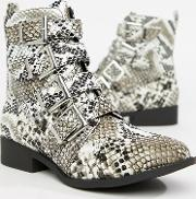 Studded Snake Flat Ankle Boots