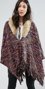 on the hunt poncho with faux fur collar