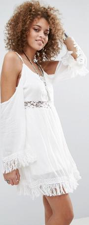 the hayley lace insert cold shoulder dress
