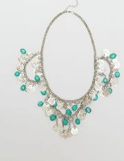 turquoise stones coin necklace