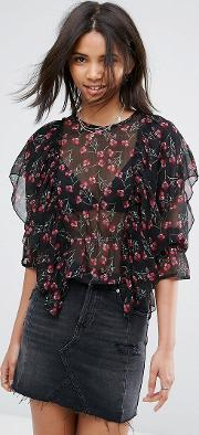 frilled long sleeve floral blouse
