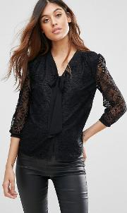 Lace Pussy Bow Blouse