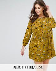 floral smock dress with  sleeve
