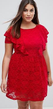 lace skater dress with frill