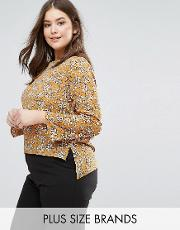 long sleeve chiffon floral print blouse with