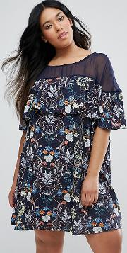 Swing Dress  Floral Print With Mesh Insert