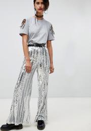 stripe sequin flare trousers