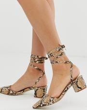 Arve Snake Ankle Tie Mid Heeled Shoes