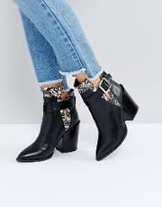Carla Black And Snake Buckle Heeled Ankle Boots