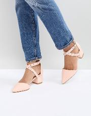 debby pink studded patent mid heeled shoes