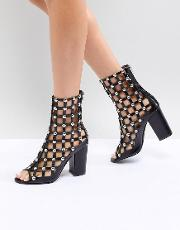 Della Caged Studded Boots