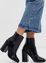 Dolley Croc Patent Heeled Ankle Boots