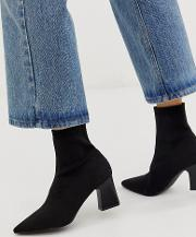 Eva Knitted Sock Boot With Stacked Heel