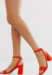 Exclusive Wink Square Toe Block Heeled Sandals