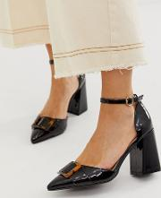 Hannah Block Heeled Shoes With Tortoishell Buckle Detail