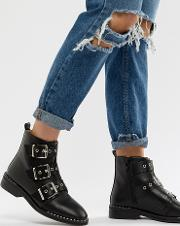Jack Studded Buckle Detail Flat Boots