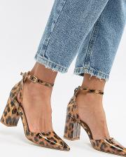 Katy Patent Leopard Print Heeled Shoes