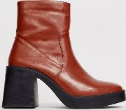 Lexus Brown Chunky Ankle Boots
