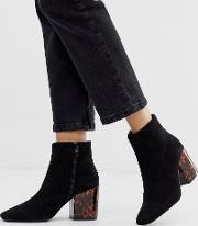Parker Tortoiseshell Heel Ankle Boots With Square Toe