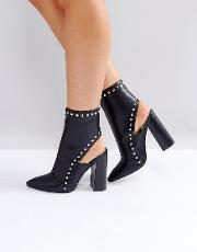 Petunia Black Studded Cut Out Heeled Ankle Boots