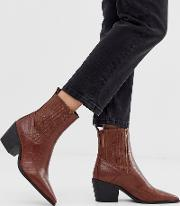 Rocco Croc Effect Western Boots