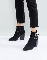 Studded Buckle Heeled Ankle Boots