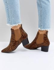 wendy faux snake heeled ankle boots