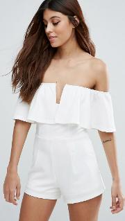frill top plunge playsuit