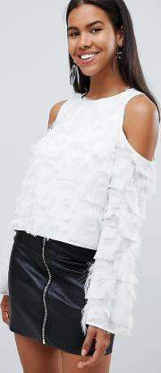 london cold shoulder fringe blouse