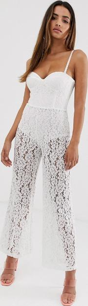 London Sheer Lace Bandeau Jumpsuit With Knicker Shorts