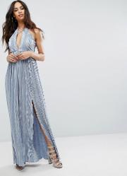 london strappy maxi dress with double split