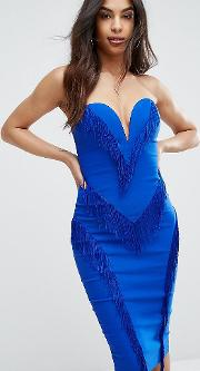 London Sweetheart Pencil Dress With Fringing