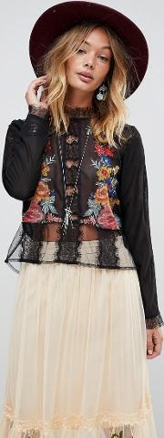embroied lace victoriana blouse