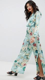 High Waisted Silky Printed Wide Leg Trouser