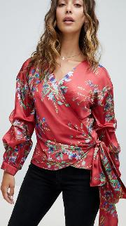 Wrap Ruched Sleeve Blouse