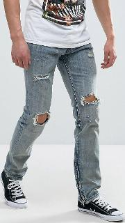 jeans in light wash with distressing
