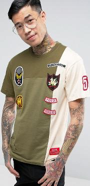 T Shirt With Distressing And Patches
