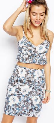 asos cami top with frill in floral print