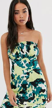 Inspired Bandeau Dress With Shirred Ruffle Camo Print
