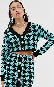 Inspired Cardigan Bright Dogtooth