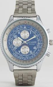 inspired chronograph bracelet watch  silver exclusive to asos